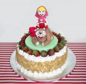 Festa a tema Masha e Orso_torta panna e fragole