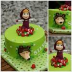 Torte Masha e Orso_verde con fragolinejpg
