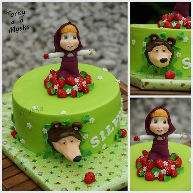 Torte Masha E Orso Verde Con Fragolinejpg