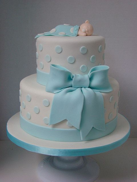 Bien-aimé Torte decorate per battesimo_fiocco e pois - Blogmamma.it  CF78