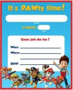 Festa a tema Paw patrol_inviti