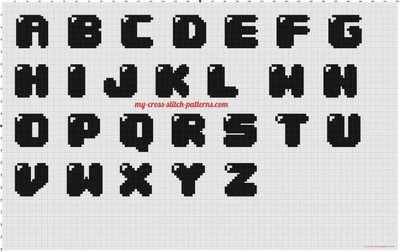 schema punto croce sacchette lettere bubble