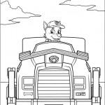 Disegni della Paw Patrol da stampare gratis_Rocky e il suo mezzo di trasporto green