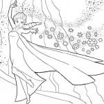 Disegni da colorare di Frozen da stampare gratis_Elsa e i cristalli di ghiaccio