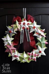 Decorazioni di Natale fai da te con la carta_ghirlanda con stelle