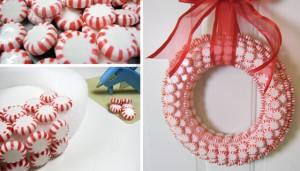 Decorazioni di Natale fai da te con le caramelle_ghirlanda con caramelle bianche e rosse