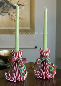 Decorazioni di Natale fai da te con le caramelle_porta candele con bastoncini di zucchero