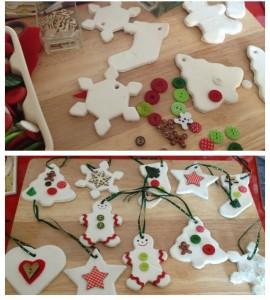Lavoretti di Natale con la pasta di mais_ornamenti per albero di Natale con bottoni