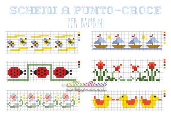 Schemi punto croce bordure per bambini for Schemi punto croce alfabeto bambini