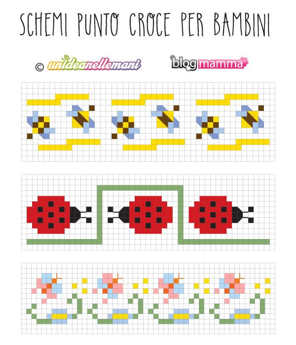Schemi punto croce bordure per bambini for Schemi punto croce per bavaglini