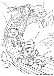 Disegni da colorare di Jake e i pirati_Jake-Cubby-Izzy sullo scivolo