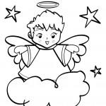 angioletti da colorare_angelo sulla nuvola