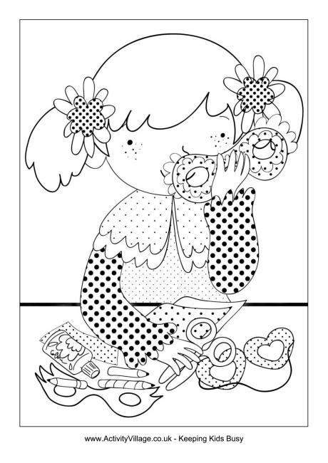 disegni di carnevale da colorare_bambina prepara le maschere di carnevale