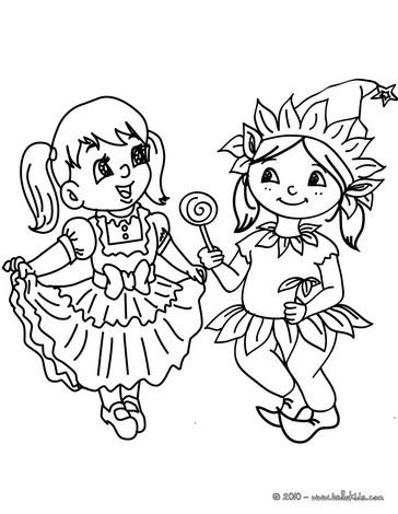 disegni di carnevale da colorare_elfo bambina e ballerina