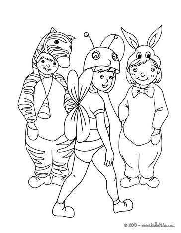 disegni di carnevale da colorare_gruppo animali