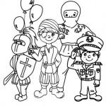 disegni di carnevale da colorare_gruppo bambini mascherato