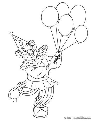 Disegni di carnevale da colorare pagliaccio con palloncini - Coloriage pierrot ...