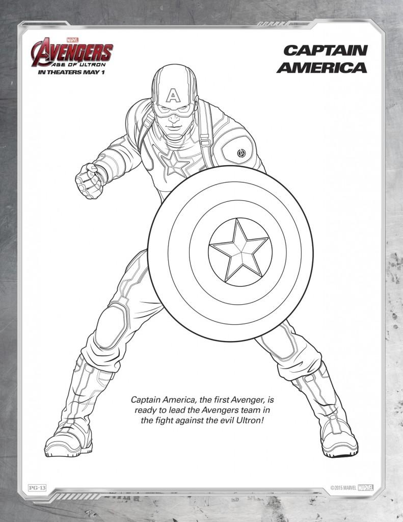 Disegni da colorare degli Avengers Capitan