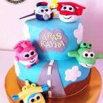 Festa di compleanno dei Super Wings_torta a più piani