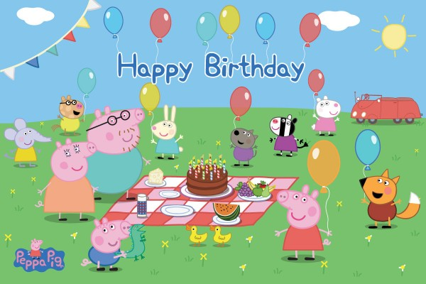 decorazioni per festa a tema Peppa Pig da comprare online_happy Birthday