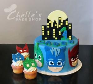 festa a tema PJ Masks_torta pasta di zucchero