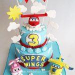 torte di compleanno dei Super wings_2 piani