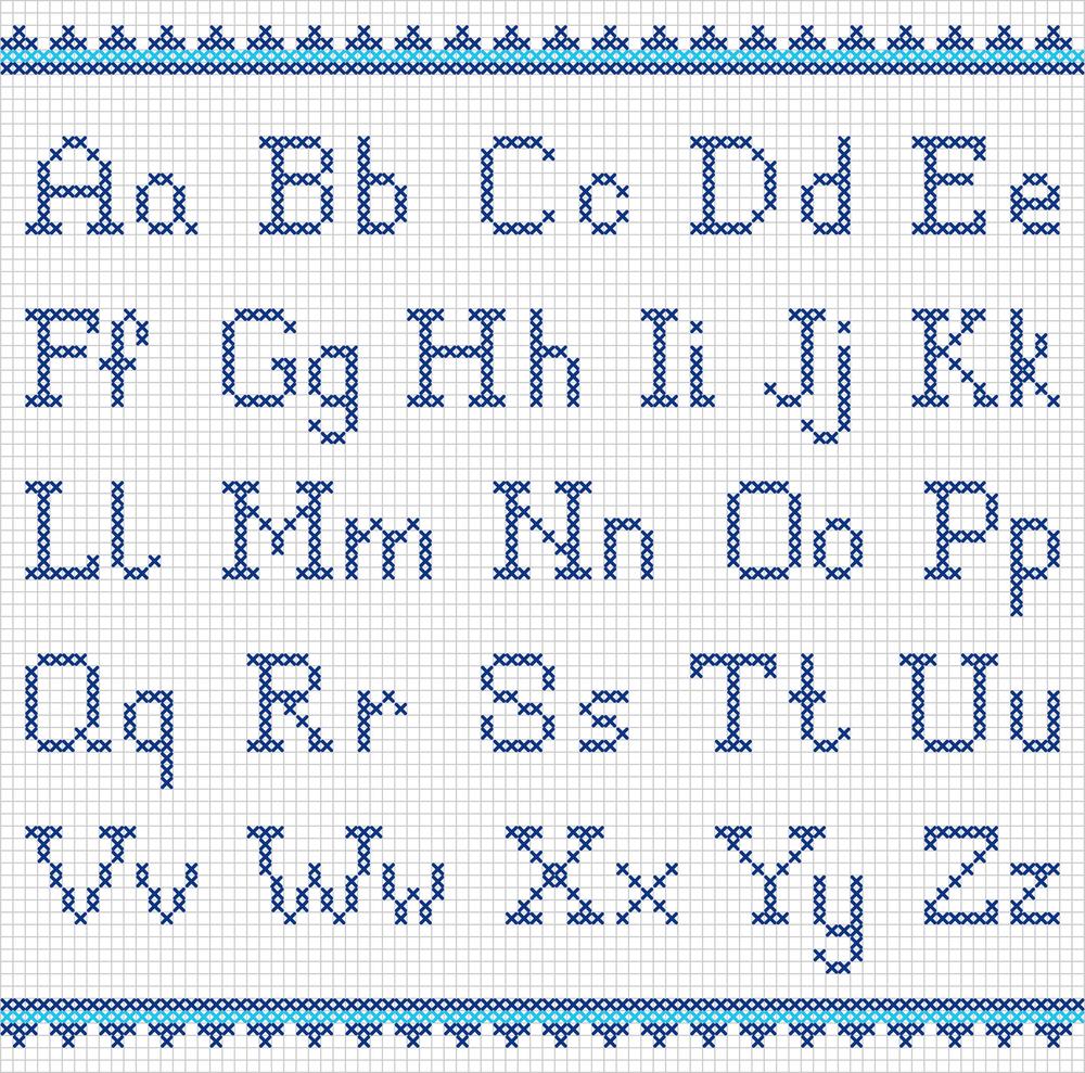 Schemi punto croce per personalizzare grembiulini asilo for Alfabeto punto croce disney gratis