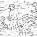 Disegni da colorare in vacanza_famiglia in spiaggia