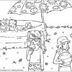 Disegni da colorare in vacanza_piscina con bambini