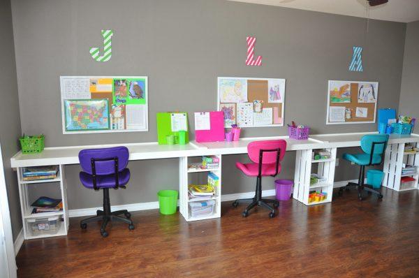 zona studio per cameretta con più bambini