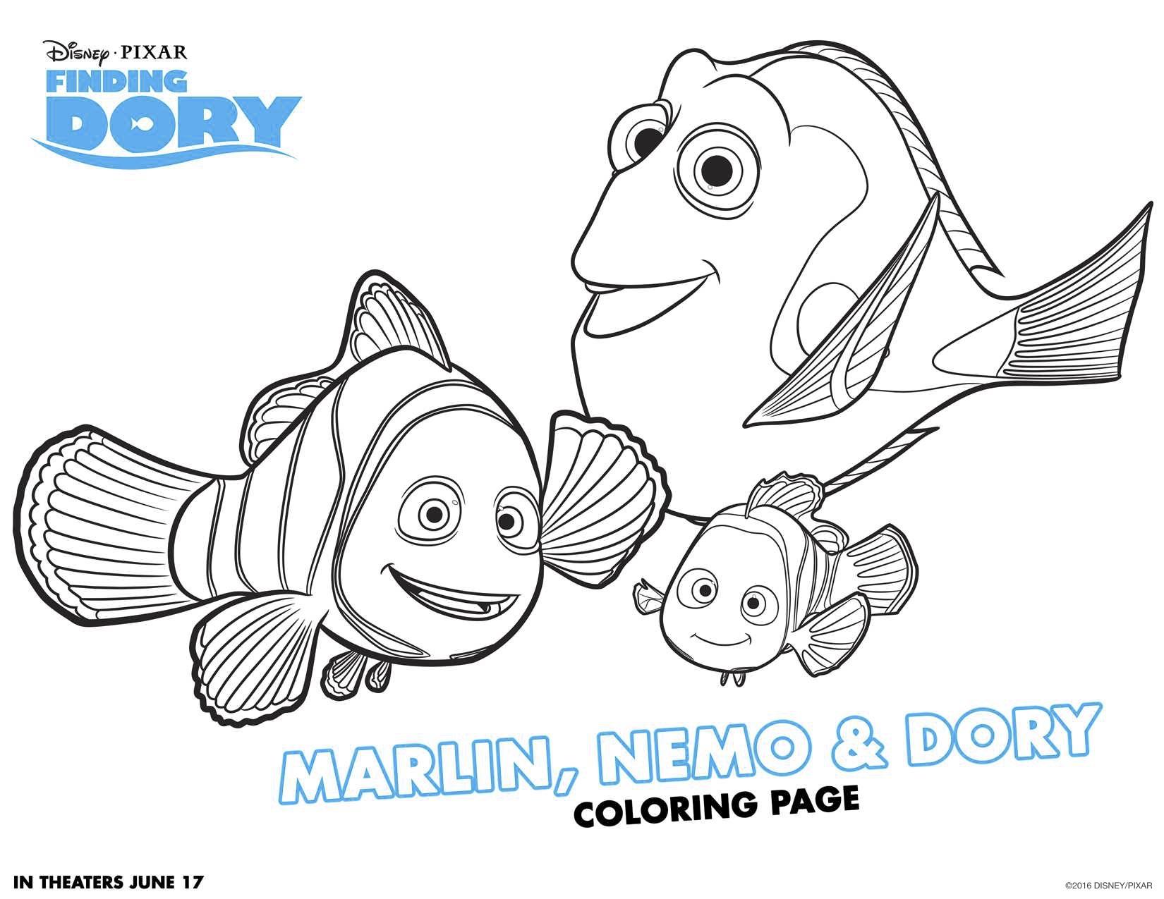 Disegni Da Colorare Di Dory E Nemo Marlin Nemo E Dory Blogmamma It