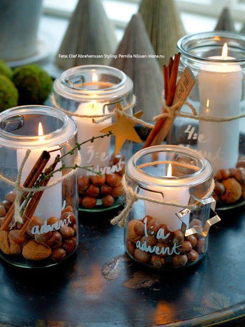 lanterne di Natale con frutta secca