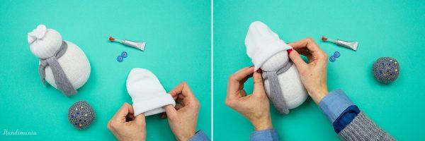 pupazzo di neve con calzino tutorial