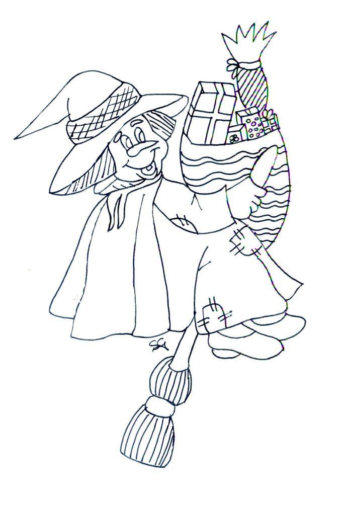 Disegni della Befana da colorare_befana-con-doni