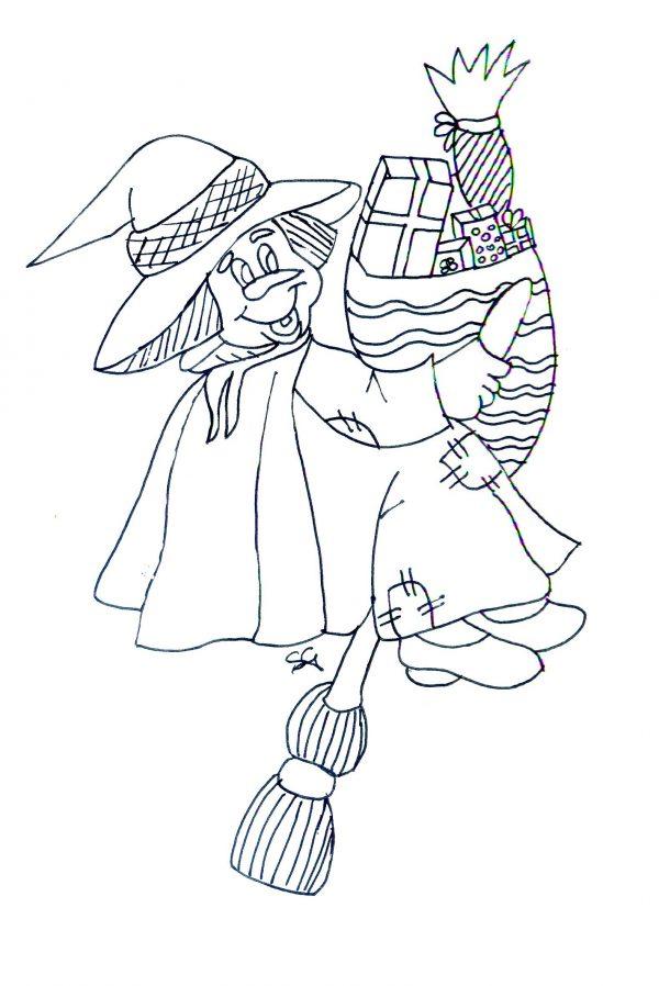 Disegni della befana da colorare befana con doni for Disegni inazuma eleven da stampare