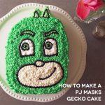 Torte di compleanno dei PJ Masks con panna_ Gekko