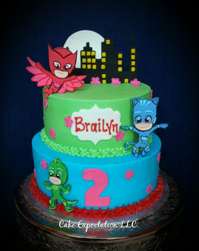 Torte di compleanno dei PJ Masks_ganache e sagome personaggi 2d