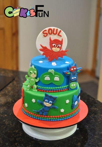 Torte di compleanno dei PJ Masks_pasta di zucchero personaggi 2d