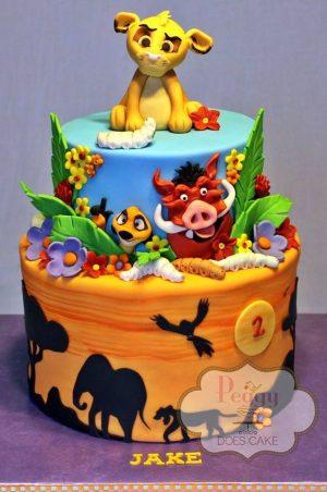 festa a tema The Lion Guard_torta pasta di zucchero a 2 piani