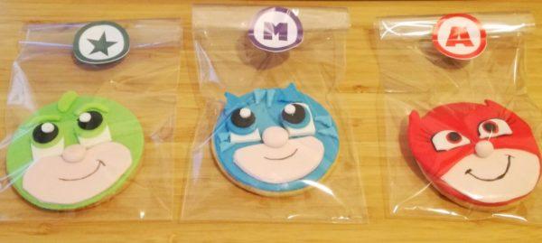 Biscotti dei PJ Masks_Geko, Gatto Boy Gufetta con pasta di zucchero