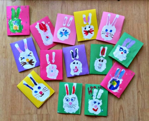 biglietti di Pasqua fai da te per bambini piccoli