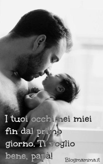 frasi per la festa del papà e immagine di papà e neonato