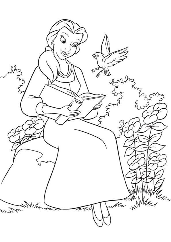 Bella che legge un libro _disegni della Bella e la Bestia da colorare