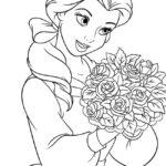 Belle con un mazzo di rose _disegni della Bella e la Bestia da colorare