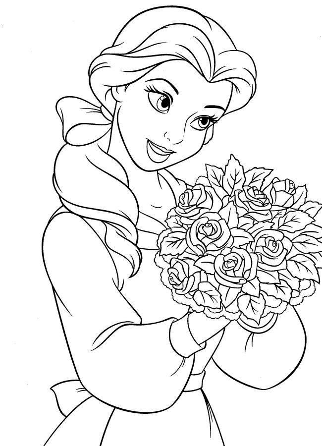 Belle con un mazzo di rose disegni della bella e la for La bella e la bestia immagini da stampare