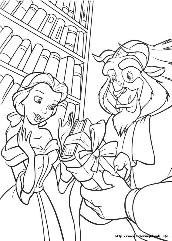 Belle e la bestia in biblioteca disegni della bella e la for La bella e la bestia disegni da colorare