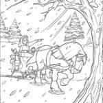 Belle nel bosco innevato _disegni della Bella e la Bestia da colorare
