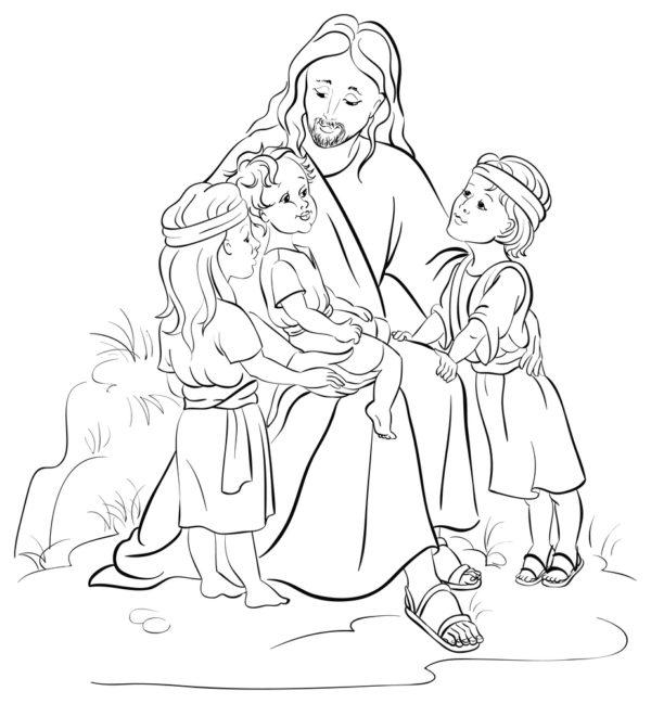disegni di Pasqua da colorare: gesù con i bambini