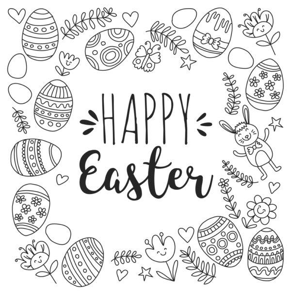 disegni di Pasqua da colorare: ghirlanda