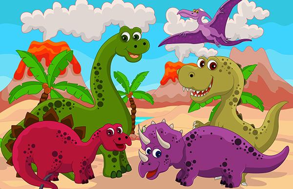 Disegni da colorare dei dinosauri - gruppo di dinosauri